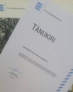 Tänukiri Kultuuriministeeriumilt 2016